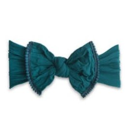 Baby Bling trimmed classic knot mini pom: emerald