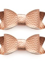 Baby Bling 2pk leather bow tie clips: rose gold