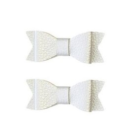 Baby Bling 2pk leather bow tie clips: silver
