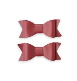 Baby Bling 2pk leather bow tie clips: cherry