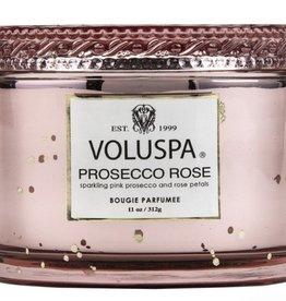 voluspa prosecco rose 11oz corta maison glass candle with lid boxed