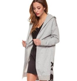 dex open hooded laceup cardigan
