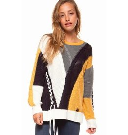 dex color block cable knit sweater