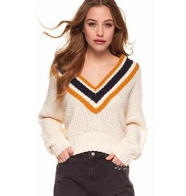 dex varsity crop sweater
