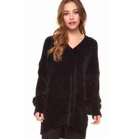 dex v neck long sleeve chenille tunic