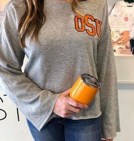 LivyLu OSU chenille bell sleeve sweatshirt