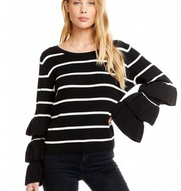 rib tiered l/s cropped sweater