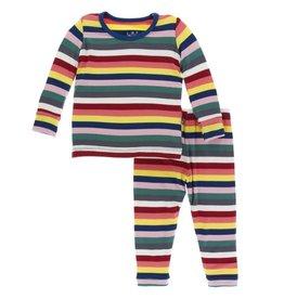kickee pants bright london stripe print long sleeve pajama set