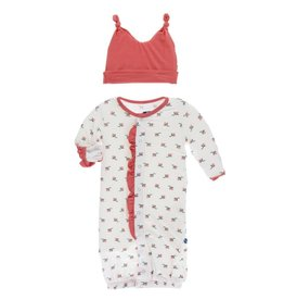 kickee pants natural rose bud print ruffle layette gown converter and double knot hat set