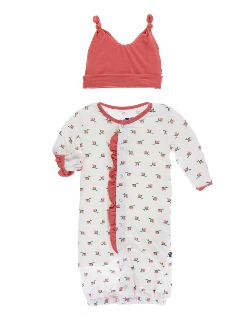 natural rose bud print ruffle layette gown converter and double knot ...