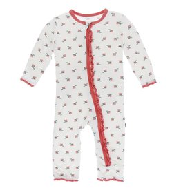 kickee pants natural rose bud print muffin ruffle coverall with snaps