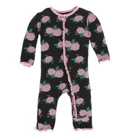kickee pants english rose garden print muffin ruffle coverall with snaps