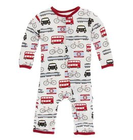 kickee pants london transport print coverall with snaps