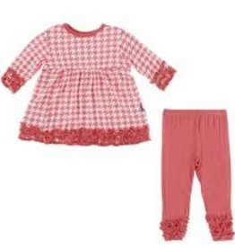 kickee pants english rose houndstooth long sleeve babydoll outfit set