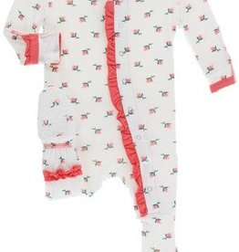 kickee pants natural rose bud print muffin ruffle footie with zipper