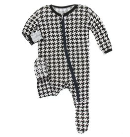 kickee pants zebra houndstooth print footie with zipper