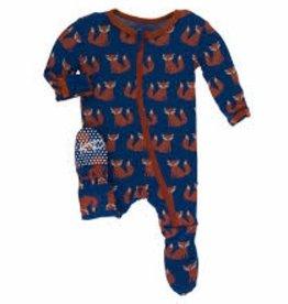 kickee pants navy fox print footie with zipper