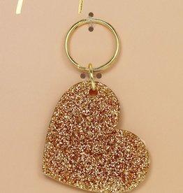 gold glitter keychain - shape