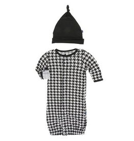 kickee pants zebra houndstooth print layette gown converter and knot hat set