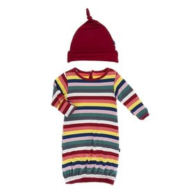 kickee pants bright london stripe print layette gown converter and knot hat set