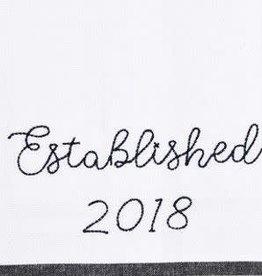 established 2018 tea towel