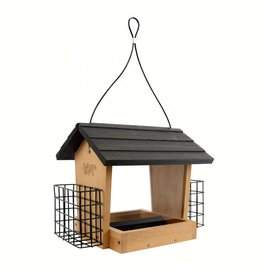 Wood Feeder, Hopper, Bamboo, 3 Qt., with Suet feeders, NWBWF28