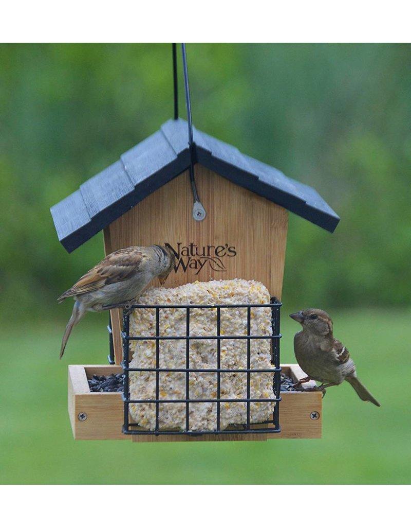 Wood Feeder, Hopper, Bamboo, 3 Qt., with Suet feeders, NWBWF28