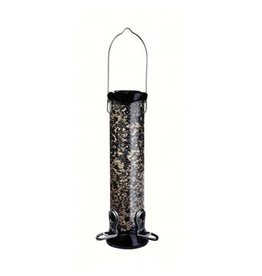 "Droll Yankees Nyjer Feeder,12"" tube, 2 port, CC, Onyx"