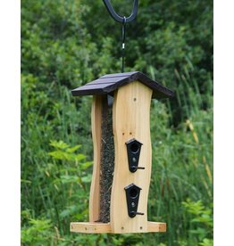 Wood Feeder, Hopper, Seed Feeder, Cedar, Vertical Wave, NWCWF5