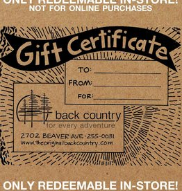 BACK COUNTRY GIFT CERTIFICATE