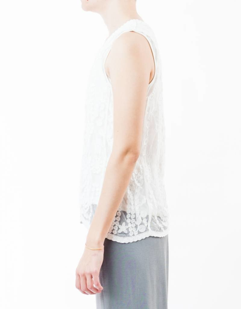 TRIBAL SLEEVELESS EMBROIDERED MESH TANK