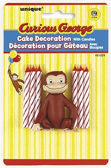 Curious George Cake Decorations With Birthday Candles Holders