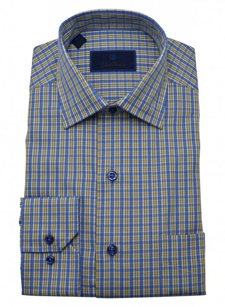 David Donahue David Donahue Check Sport Shirt - Maize & Blue