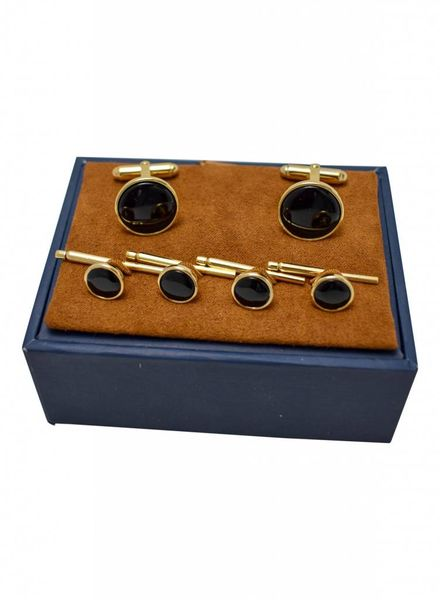David Donahue David Donahue Onyx and Gold Stud Set