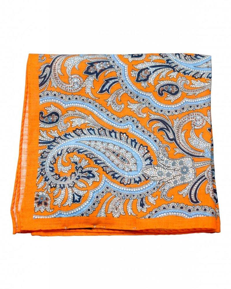 A. Christensen A. Christensen Linen Pocket Square - Orange