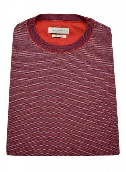 Bugatti BUGATTI Crew Neck Cotton Sweater - Red/Blue