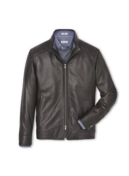 Peter Millar Peter Millar Boylan Classic Leather Bomber Jacket - Brown
