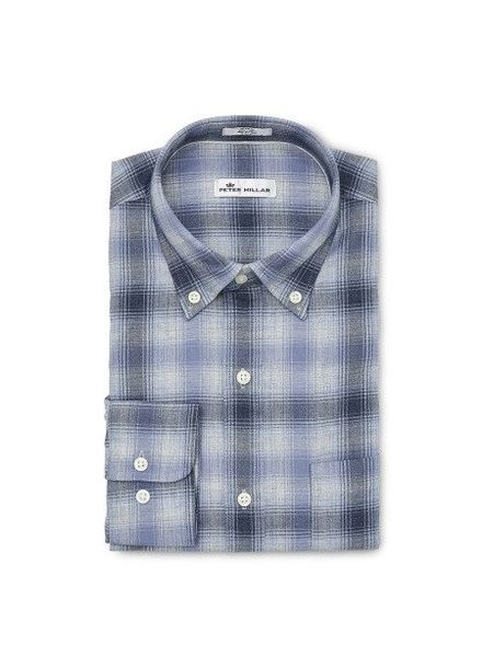 Peter Millar Peter Millar Crown Mountain Fog Plaid Sport Shirt - Atlantic Blue
