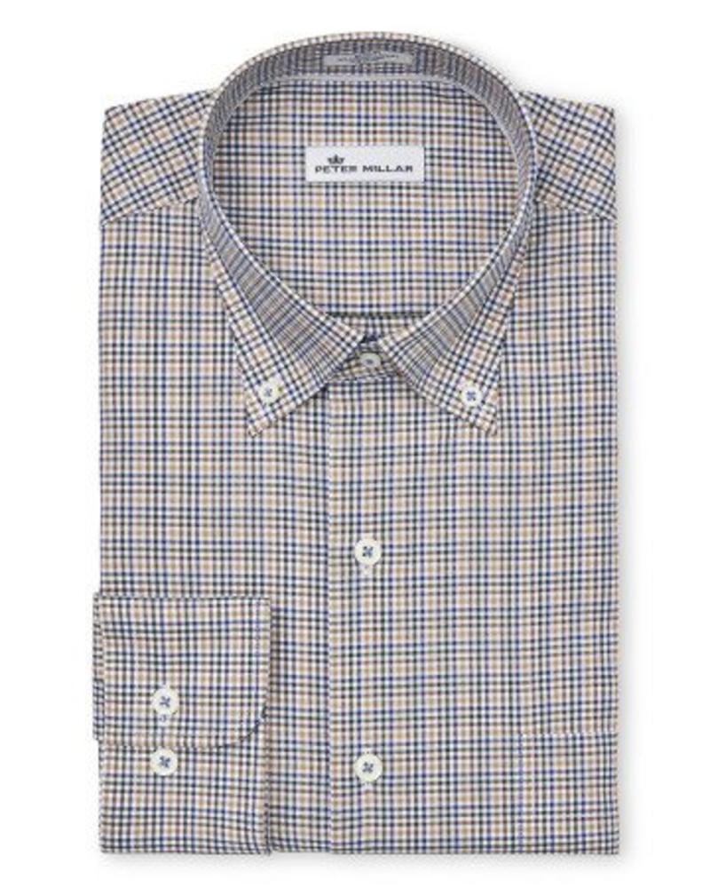 Peter Millar Peter Millar Crown Ease Nantahala Micro-Check Sport Shirt - Marina Blue