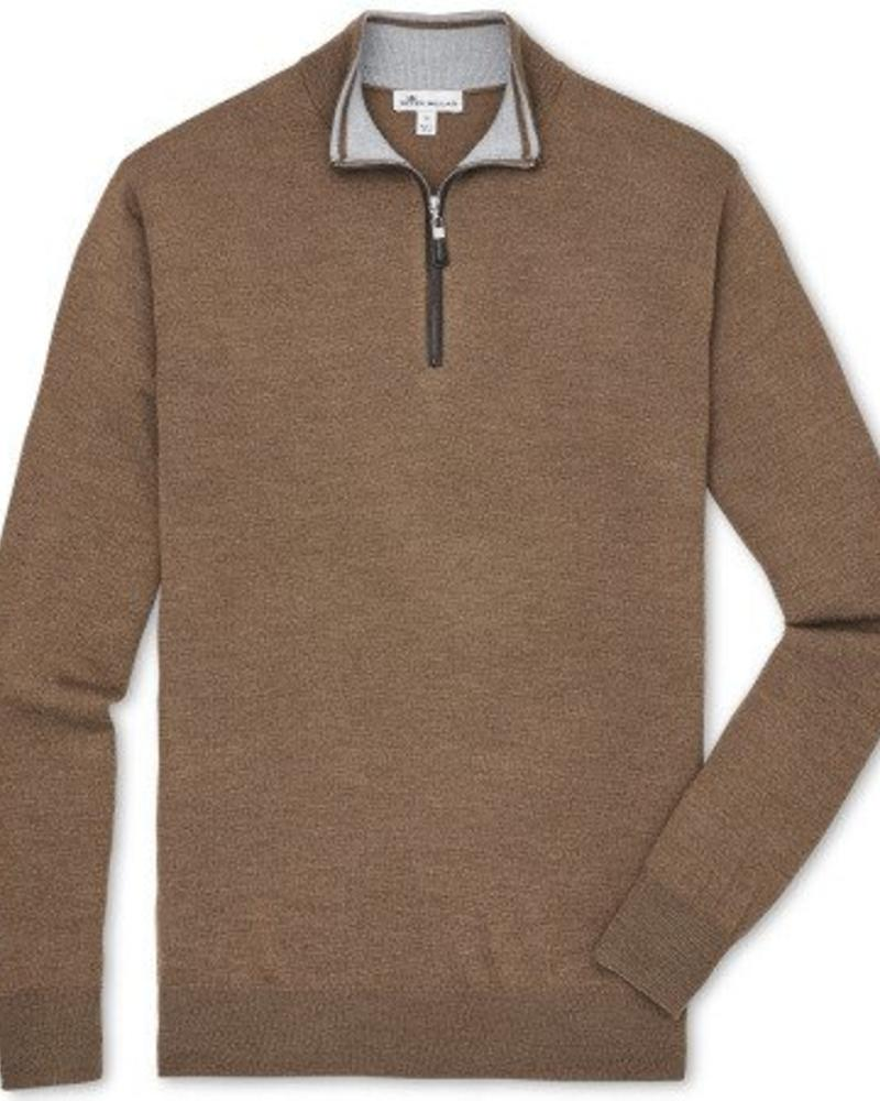 Peter Millar Peter Millar Crown Soft  Nappa Trim Quarter Zip Sweater - Bourbon