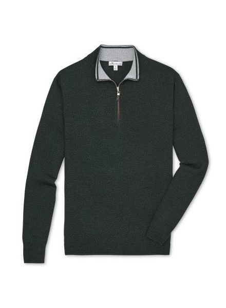 Peter Millar Peter Millar Crown Soft Nappa Trim Quarter Zip Sweater - Woodland