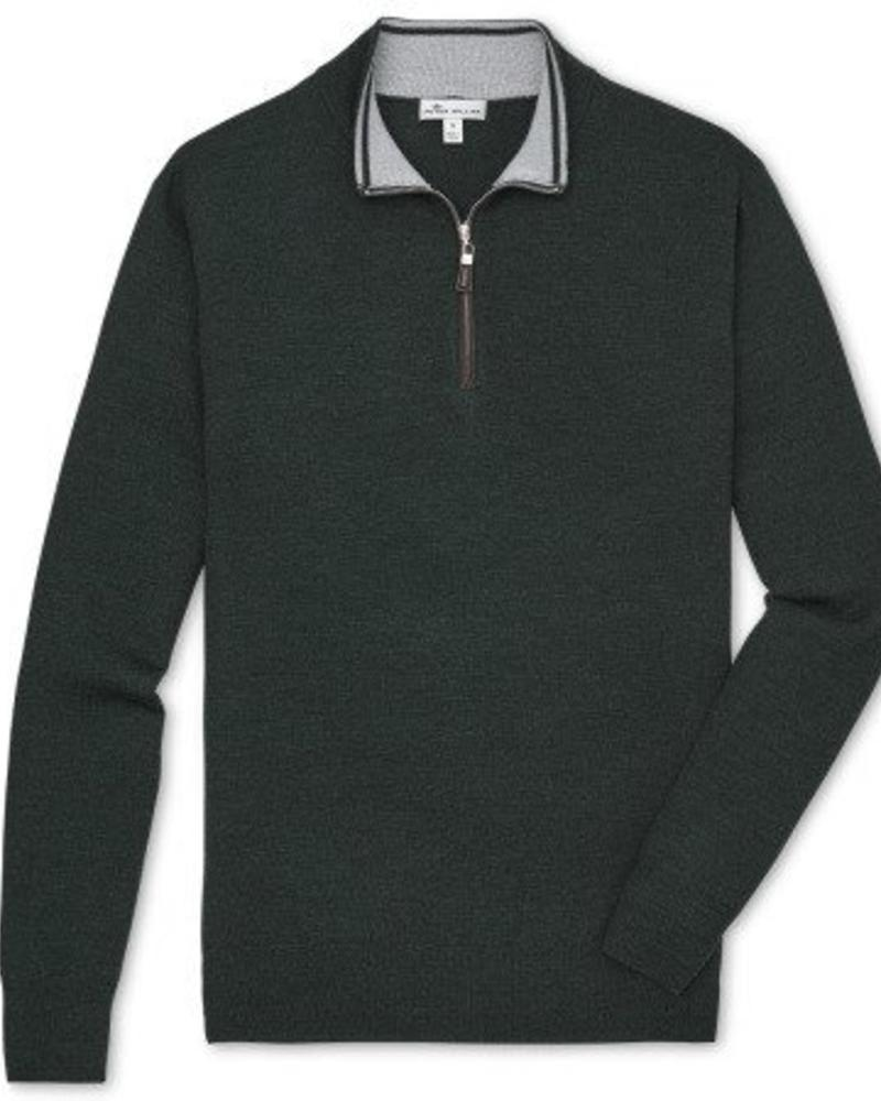 Peter Millar Crown Soft Nappa Trim Quarter Zip Sweater - Woodland