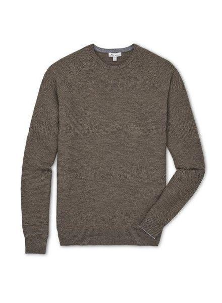 Peter Millar Peter Millar Raglan Crew with Suede Elbow Patch Sweater - Cobblestone