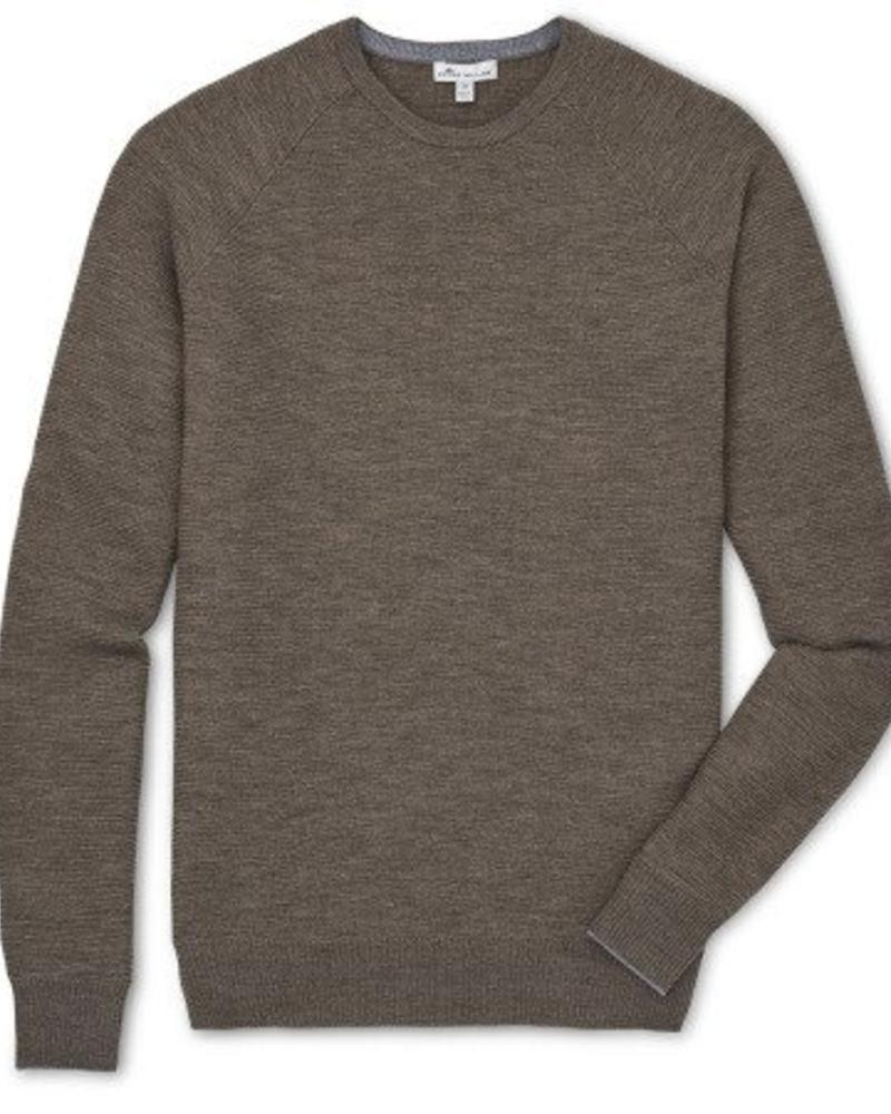 Peter Millar Peter Millar Raglan Crew with Suede Elbow Patch Sweater - Cobblestone