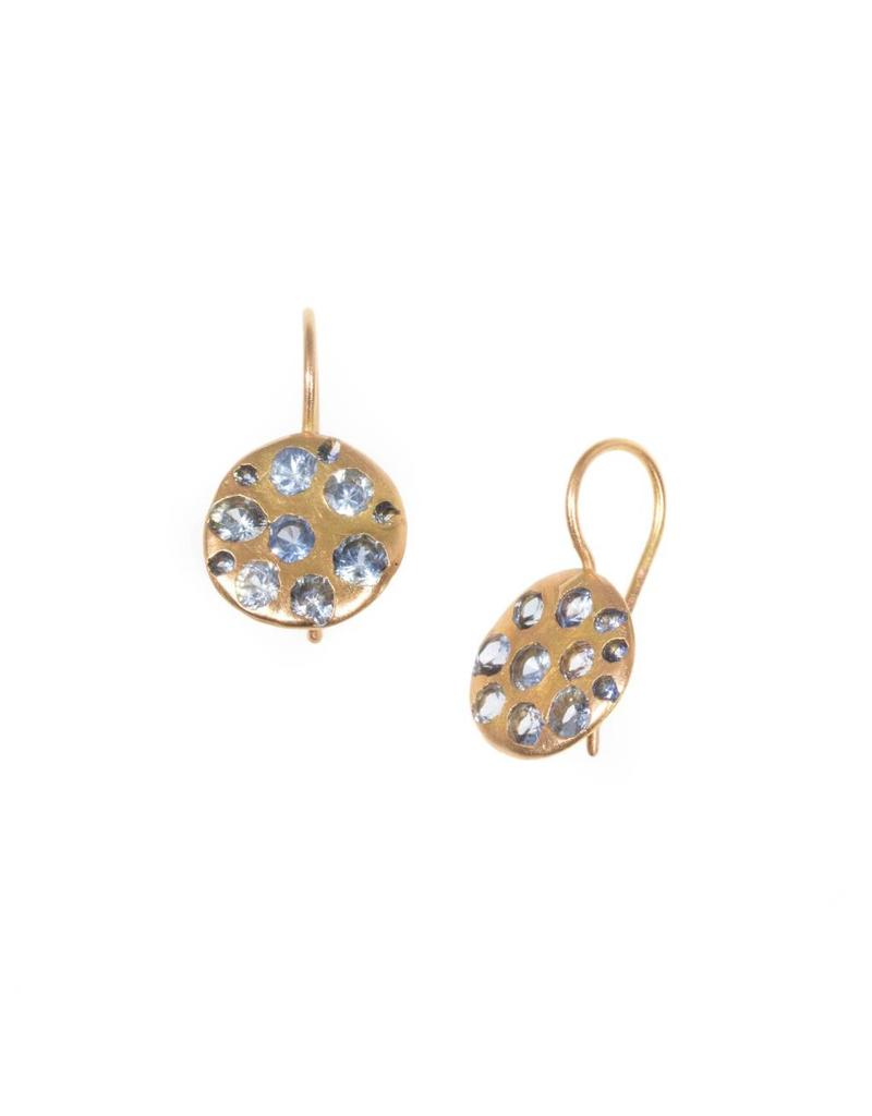 Crystal Disc Earrings with Blue Sapphires in 18k Rose Gold