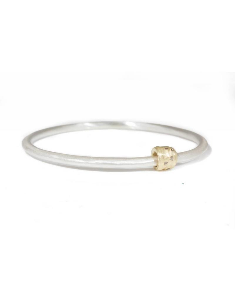 Modeled Bangle in Silver with Mackle Diamonds in Gold Band