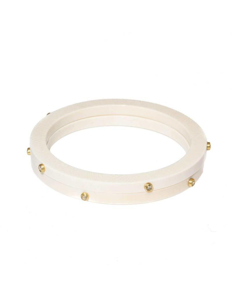 Fossilized Walrus Bangle with Five Rose Cut Diamonds in18k Yellow Gold Bezels