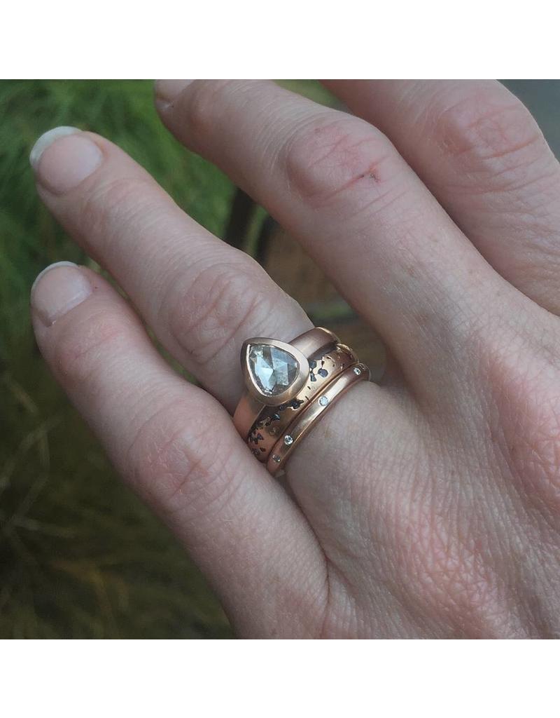 Teardrop White Rose Cut Diamond Ring in 14k Rose Gold