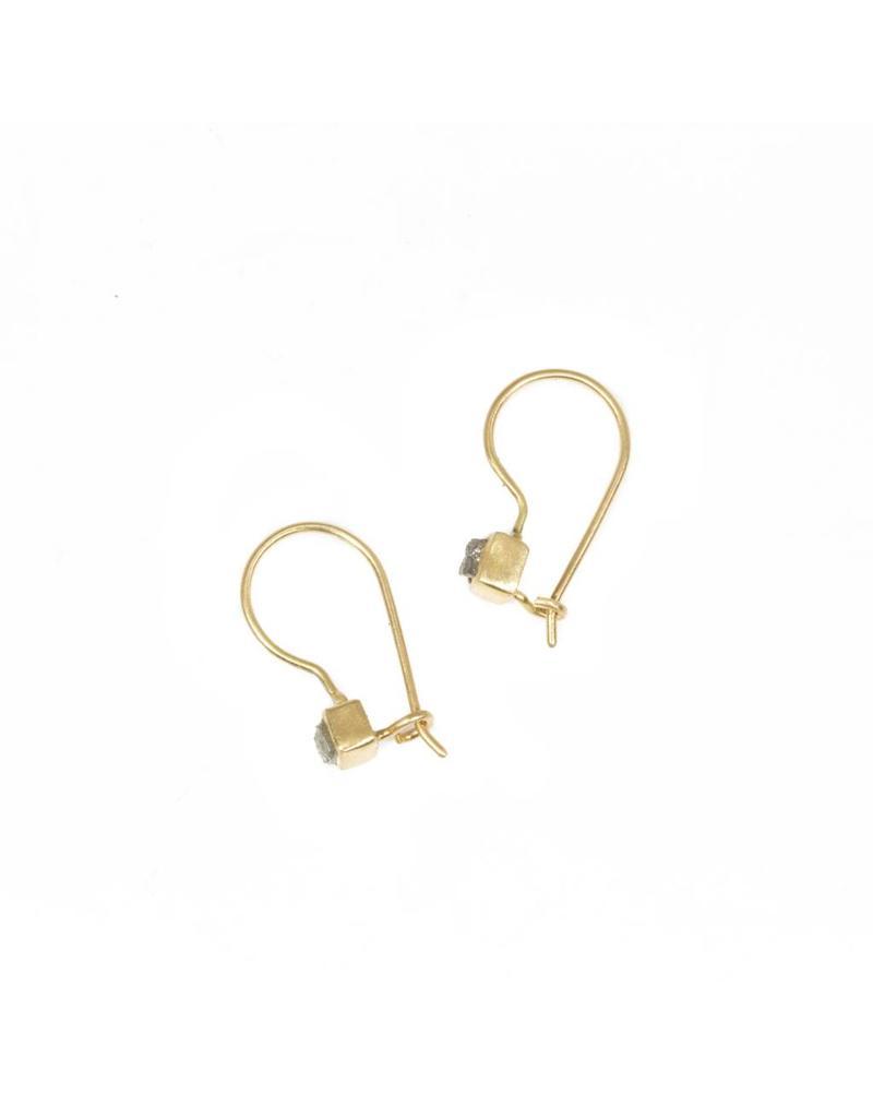 Raw Diamond Cube Earrings in 18k Yellow Gold