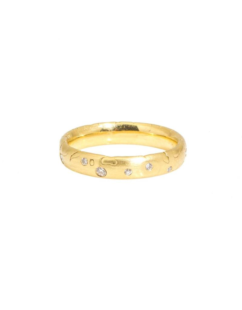Medium Nugget Ring with Diamonds in 18k Yellow Gold